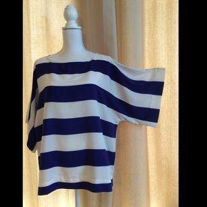 Chico's Blue & White Stripe Top